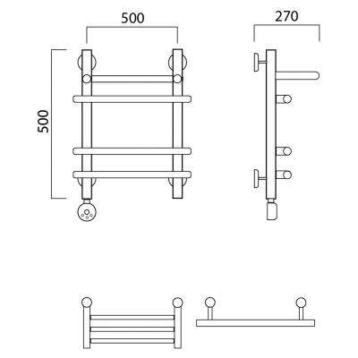 Электрический полотенцесушитель Роснерж Нео 1 L206110 50x50 с полкой групповой