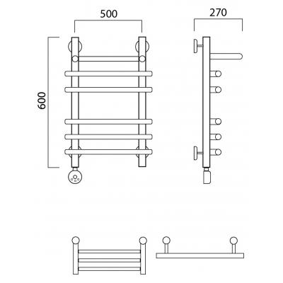 Электрический полотенцесушитель Роснерж Нео 1 L206110 60x50 с полкой групповой