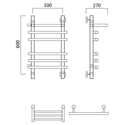 Водяной полотенцесушитель Роснерж Нео 1 L106111 60x50 с полкой и боковым подключением групповой