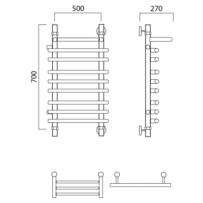 Водяной полотенцесушитель Роснерж Нео 1 L106111 70x50 с полкой и боковым подключением групповой