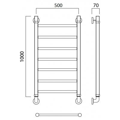 Водяной полотенцесушитель Роснерж Прямая L107000 100x50