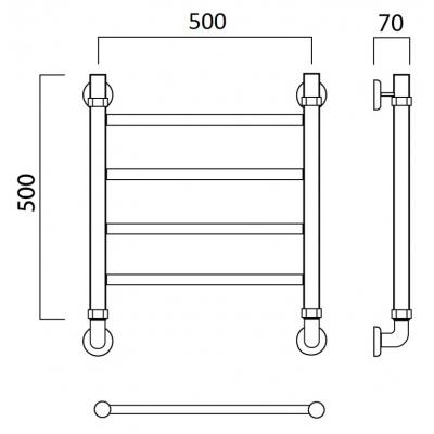 Водяной полотенцесушитель Роснерж Прямая L107000 50x50
