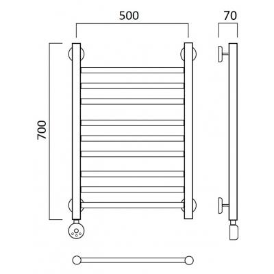 Электрический полотенцесушитель Роснерж Прямая L207010 70x50 групповой