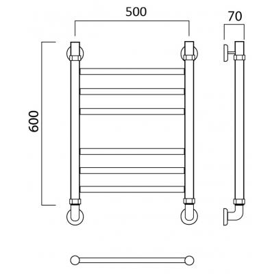 Водяной полотенцесушитель Роснерж Прямая L107010 60x50 групповой