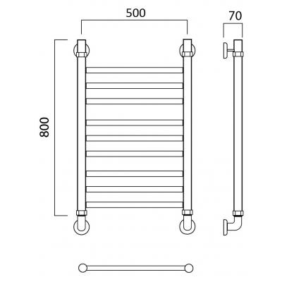 Водяной полотенцесушитель Роснерж Прямая L107010 80x50 групповой