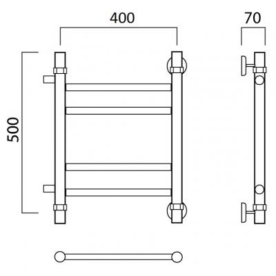 Водяной полотенцесушитель Роснерж Прямая L107011 50x40 с боковым подключением групповой