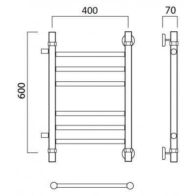 Полотенцесушитель Роснерж Прямая L107011 60x40 с боковым подключением групповой