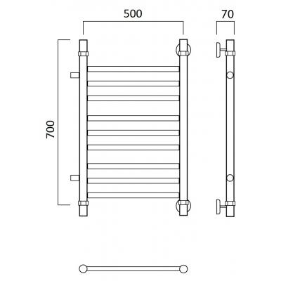 Водяной полотенцесушитель Роснерж Прямая L107011 70x50 с боковым подключением групповой