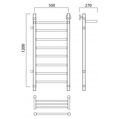 Водяной полотенцесушитель Роснерж Прямая L107101 120x50 с полкой и боковым подключением