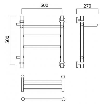 Водяной полотенцесушитель Роснерж Прямая L107101 50x50 с полкой и боковым подключением