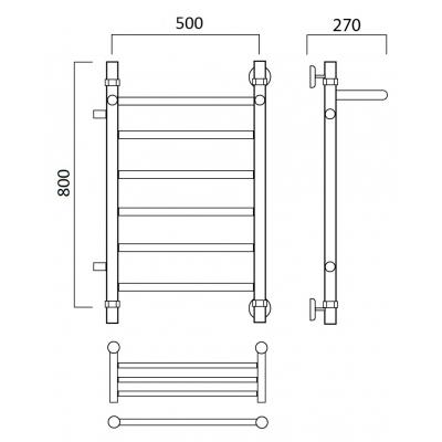 Водяной полотенцесушитель Роснерж Прямая L107101 80x50 с полкой и боковым подключением