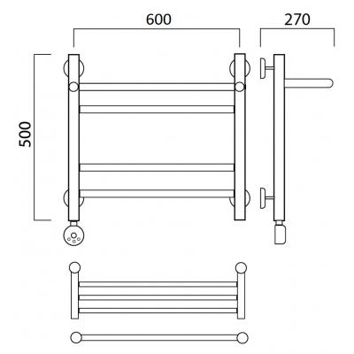 Электрический полотенцесушитель Роснерж Прямая L207110 50x60 с полкой групповой