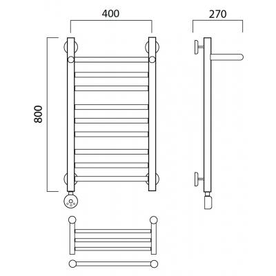 Электрический полотенцесушитель Роснерж Прямая L207110 80x40 с полкой групповой