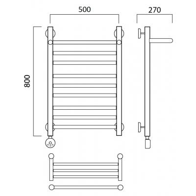 Электрический полотенцесушитель Роснерж Прямая L207110 80x50 с полкой групповой