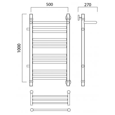 Водяной полотенцесушитель Роснерж Прямая L107111 100x50 с полкой и боковым подключением групповой