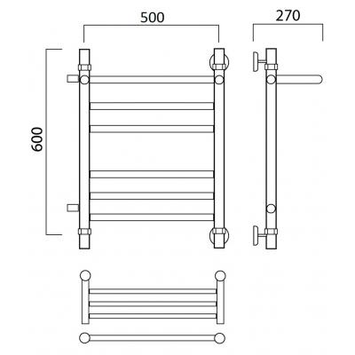 Водяной полотенцесушитель Роснерж Прямая L107111 60x50 с полкой и боковым подключением групповой