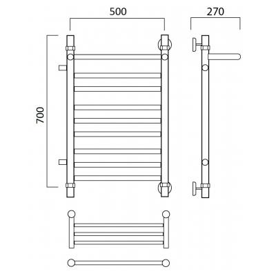 Водяной полотенцесушитель Роснерж Прямая L107111 70x50 с полкой и боковым подключением групповой