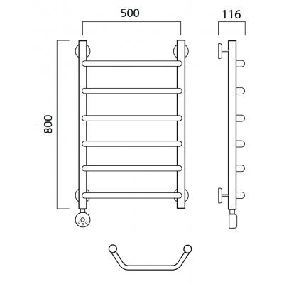 Электрический полотенцесушитель Роснерж Трапеция L208000 80x50