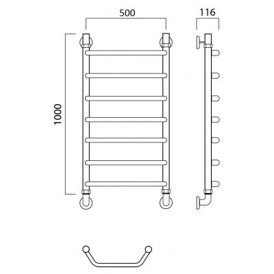 Водяной полотенцесушитель Роснерж Трапеция L108000 100x50