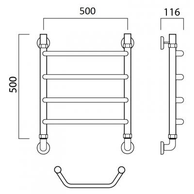 Водяной полотенцесушитель Роснерж Трапеция L108000 50x50