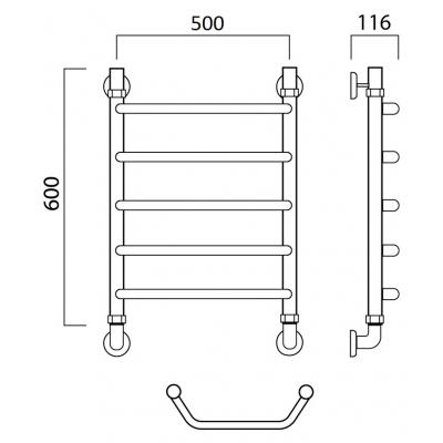 Водяной полотенцесушитель Роснерж Трапеция L108000 60x50