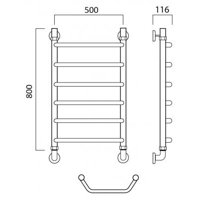 Водяной полотенцесушитель Роснерж Трапеция L108000 80x50