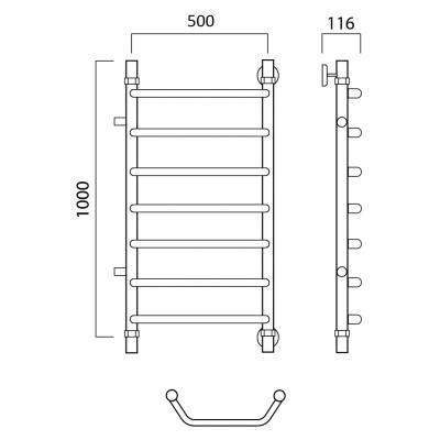 Водяной полотенцесушитель Роснерж Трапеция L108001 100x50 с боковым подключением