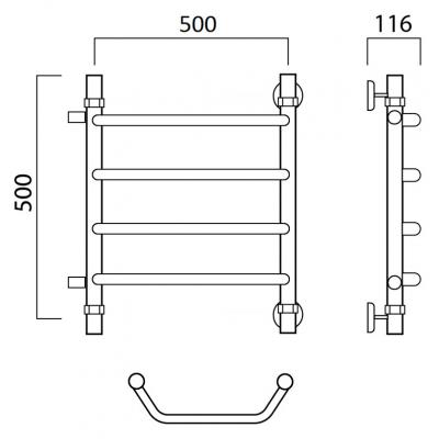 Водяной полотенцесушитель Роснерж Трапеция L108001 50x50 с боковым подключением