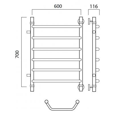 Водяной полотенцесушитель Роснерж Трапеция L108001 70x60 с боковым подключением