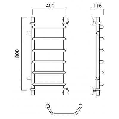 Водяной полотенцесушитель Роснерж Трапеция L108001 80x40 с боковым подключением 500 мм