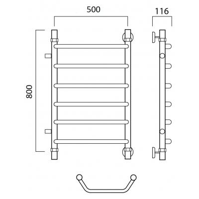 Водяной полотенцесушитель Роснерж Трапеция L108001 80x50 с боковым подключением