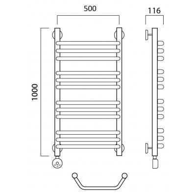Электрический полотенцесушитель Роснерж Трапеция L208010 100x50 групповой