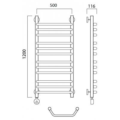Электрический полотенцесушитель Роснерж Трапеция L208010 120x50 групповой