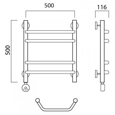 Электрический полотенцесушитель Роснерж Трапеция L208010 50x50 групповой