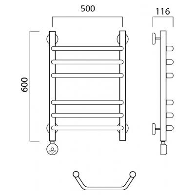Электрический полотенцесушитель Роснерж Трапеция L208010 60x50 групповой