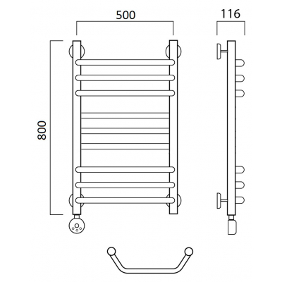 Электрический полотенцесушитель Роснерж Трапеция L208010 80x50 групповой