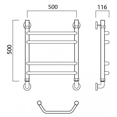 Водяной полотенцесушитель Роснерж Трапеция L108010 50x50 групповой