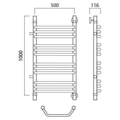 Водяной полотенцесушитель Роснерж Трапеция L108011 100x50 с боковым подключением групповой