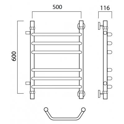 Водяной полотенцесушитель Роснерж Трапеция L108011 60x50 с боковым подключением групповой