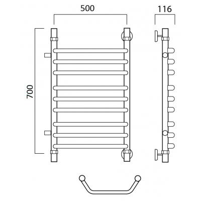Водяной полотенцесушитель Роснерж Трапеция L108011 70x50 с боковым подключением групповой