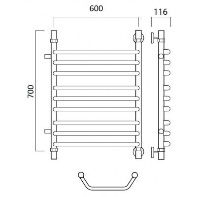 Водяной полотенцесушитель Роснерж Трапеция L108011 70x60 с боковым подключением групповой