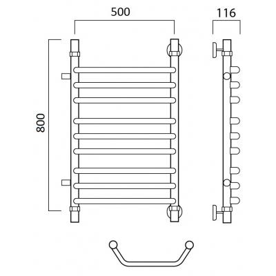 Водяной полотенцесушитель Роснерж Трапеция L108011 80x50 с боковым подключением групповой