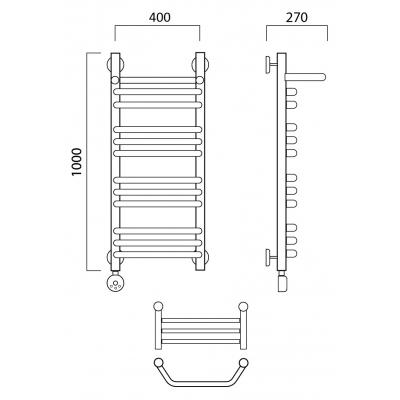 Электрический полотенцесушитель Роснерж Трапеция L208110 100x40 с полкой групповой