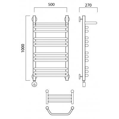 Электрический полотенцесушитель Роснерж Трапеция L208110 100x50 с полкой групповой