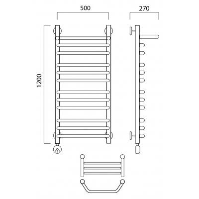 Электрический полотенцесушитель Роснерж Трапеция L208110 120x50 с полкой групповой