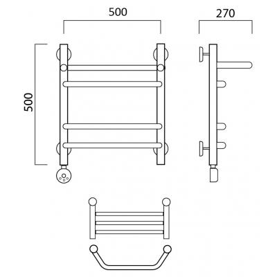 Электрический полотенцесушитель Роснерж Трапеция L208110 50x50 с полкой групповой