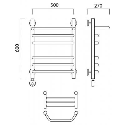 Электрический полотенцесушитель Роснерж Трапеция L208110 60x50 с полкой групповой