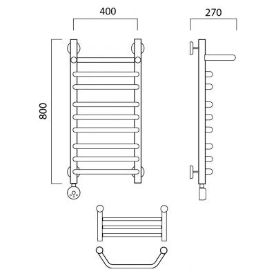Электрический полотенцесушитель Роснерж Трапеция L208110 80x40 с полкой групповой