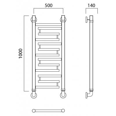 Водяной полотенцесушитель Роснерж Нео 2 L109000 100x50