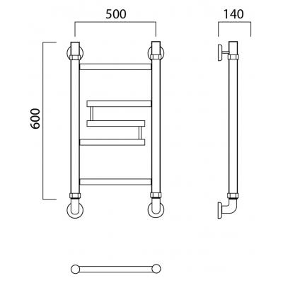 Водяной полотенцесушитель Роснерж Нео 2 L109000 60x50